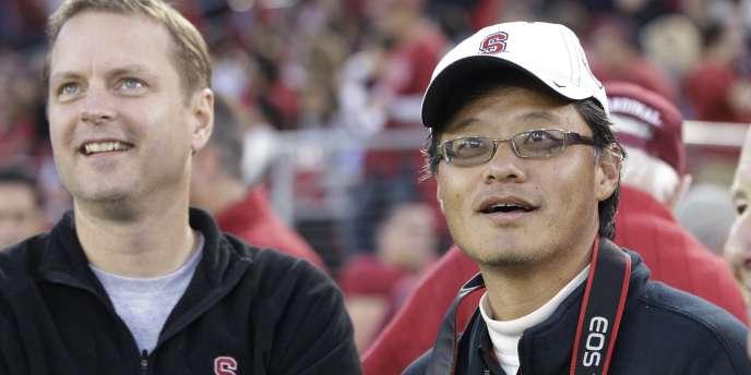 Jerry Yang, à droite ,avec David Filo, en novembre 2011, à Palo Alto, en Californie.