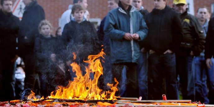 Manifestation d'employés de SeaFrance le 10 janvier à Calais, après la décision de fermeture de la société.