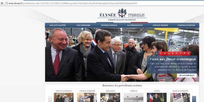 Capture écran du site de l'Elysée.
