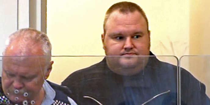 Kim Dotcom au tribunal d'Auckland le 20 janvier 2012.