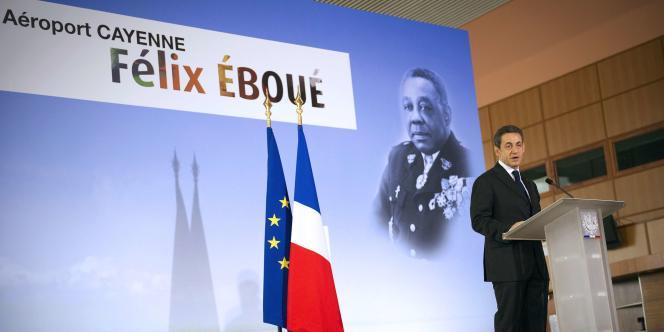 Nicolas Sarkozy, lors d'un discours à l'aéroport Felix Eboué de Cayenne, en Guyane, le 21 janvier.