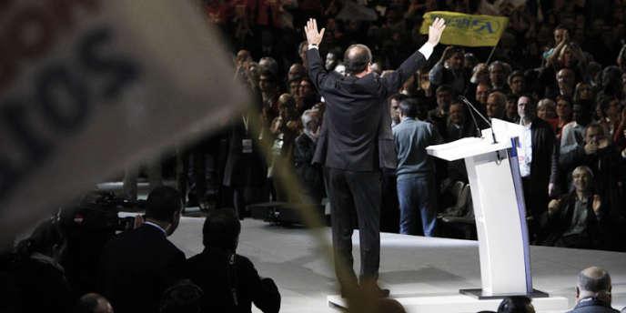 François Hollande après son discours au Bourget (Seine-Saint-Denis), le 22 janvier.