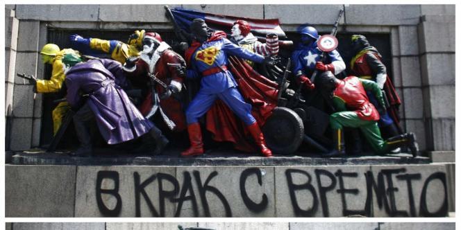 En Bulgarie, des statues de l'Armée rouge rhabillées en icônes pop : les statues de soldats soviétiques sont devenues, sous les coups de peinture des vandales-artistes, des personnages de culture populaire comme Superman, le Joker, Ronald McDonald ou le Père Noël.