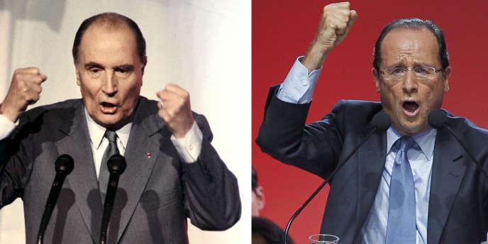 Un montage photo de François Mitterrand (ici, le 15 avril 1988, à Lyon) et François Hollande (ici, le 13 octobre 2011, à Paris).