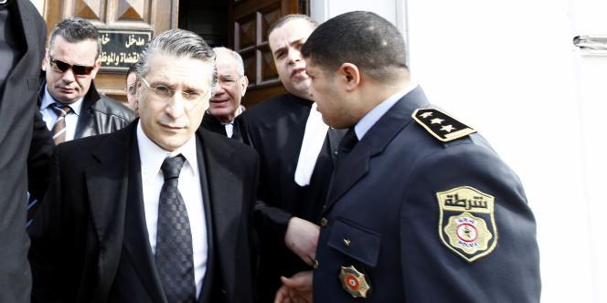 Nabil Karaoui, patron de la chaîne de télévision tunisienne Nessma, lors d'une audience, le 23 janvier.