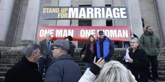 Manifestation contre la mariage homosexuel, à Olympia, dans l'Etat de Washington, le 23 janvier 2012.