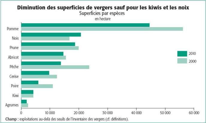 En 2010, la surface des vergers en France métropolitaine est de 134 000 hectares, soit 28 000 hectares de moins qu'en 2000. Hormis pour le kiwi et la noix, toutes les superficies d'arbres fruitiers diminuent.