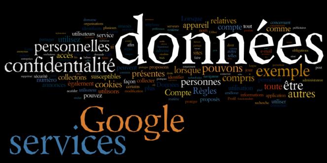 Nuage des principaux mots utilisés dans la nouvelle version de la charte de protection des données personnelles de Google.
