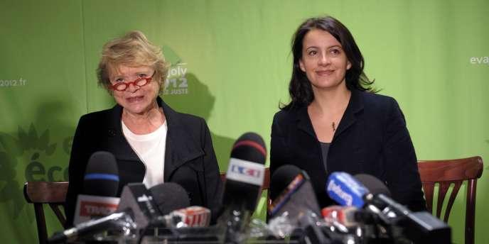 Eva Joly et Cécile Duflot, lors d'une conférence de presse le 16 janvier à Paris.