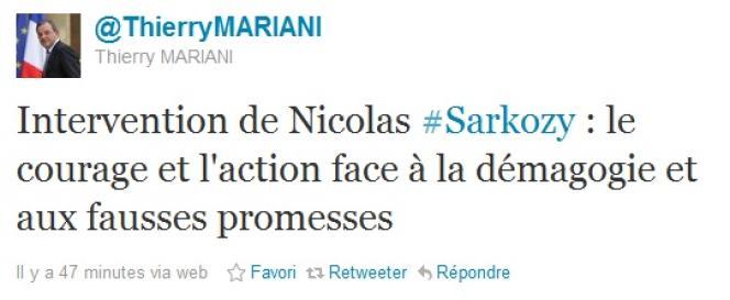 Réaction du ministre des transports, Thierry Mariani, publiée sur son compte Twitter, après l'intervention du chef de l'Etat à la télévision.