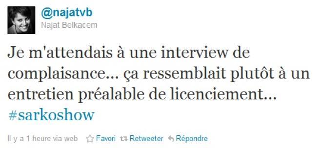 Capture d'écran du compte Twitter de Najat Belkacem, réagissant après l'intervention de Nicolas Sarkozy, dimanche 29 janvier.