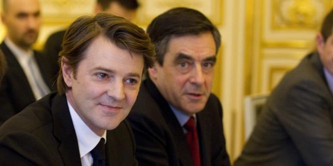 François Baroin, alors ministre de l'économie et des finances, et le premier ministre François Fillon, le 30 janvier 2012 à Matignon.