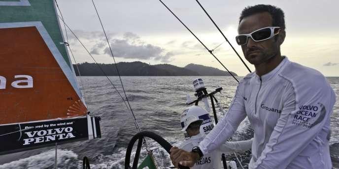 Franck Cammas à bord de