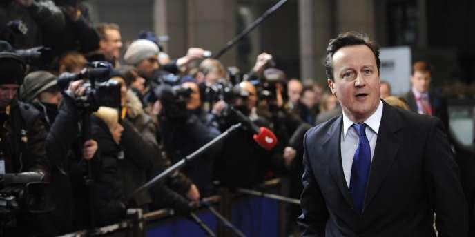 David Cameron, à Bruxelles, avant le sommet européen du 30 janvier 2012.