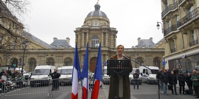 Marine Le Pen devant le Sénat, le 31 janvier 2012.
