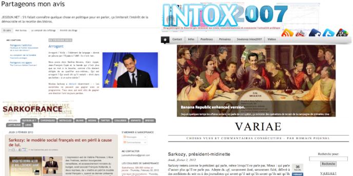 Pages d'accueil de différents blogs de sympathisants socialistes