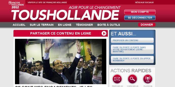 Capture d'écran du site toushollande.fr, site de mobilisation et d'organisation des soutiens du candidat socialiste