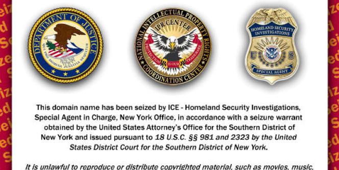 Message affiché sur les noms de domaine saisis par les autorités fédérales américaines.