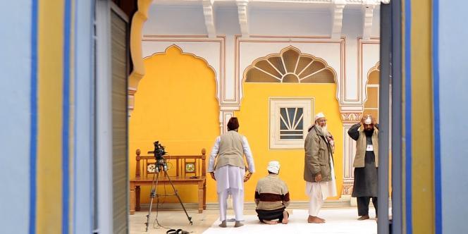Vue intérieure du palais Diggi, à Jaipur, où a eu lieu un Salon du livre du 20 au 24 janvier 2012.