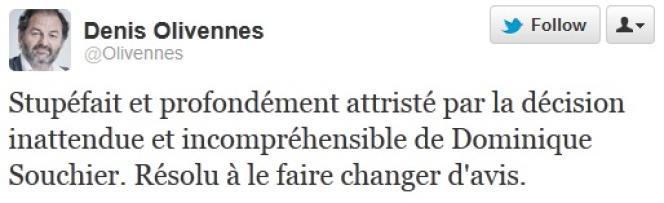 Réaction de Denis Olivennes, président d'Europe 1, à la décision de Dominique Souchier d'arrêter son émission