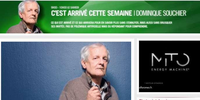 Capture d'écran de la page Web de l'émission de Dominique Souchier.