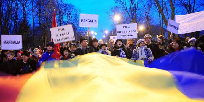 Manifestation de la gauche, alors dans l'opposition, le 19 janvier à Bucarest