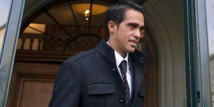 Alberto Contador, le 24 novembre 2011 à la sortie du Tribunal Arbitral du Sport à Lausanne.