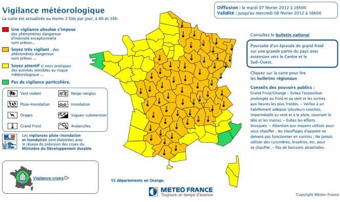 La carte de vigilance météorologique de Météo France du mardi 7 février.
