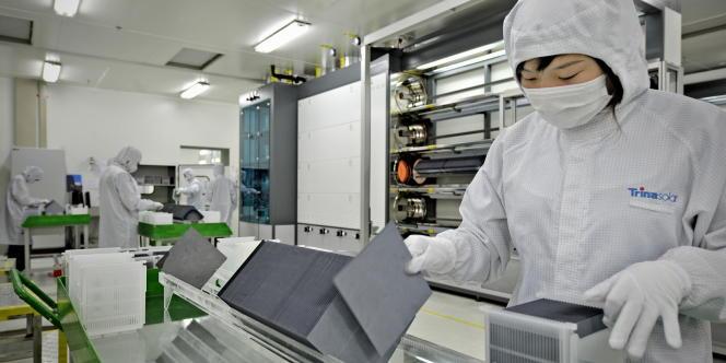 Dans une usine du fabricant chinois Trina Solar à Changzhou.