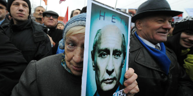 Manifestation anti-Poutine dans les rues de Moscou, le 10 décembre 2011.