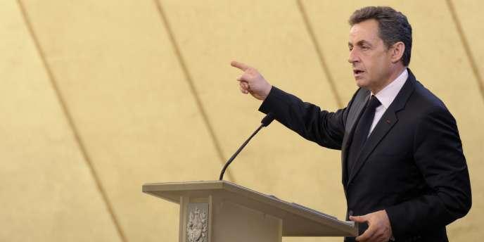 Nicolas Sarkozy lors de sa visite à la centrale nucléaire de Fessenheim (Haut-Rhin), le jeudi 9 février.