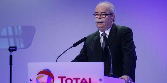 Christophe de Margerie, PDG de Total, lors de la présentation des résultats annuels du groupe, le 10 février à Paris.