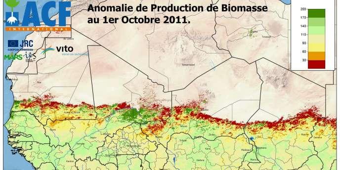 Carte de suivi par images satellitaires du couvert végétal au Sahel, mise au point par Action contre la faim. En rouge, les zones particulièrement vulnérables.