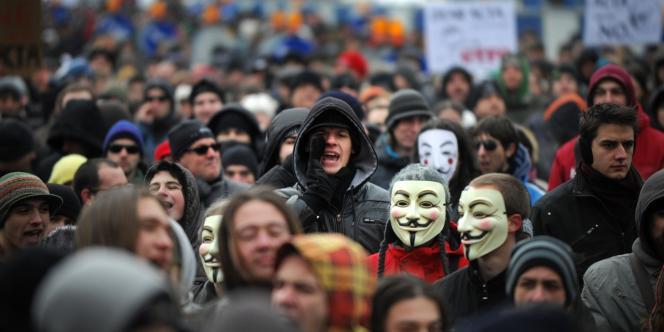 Manifestation contre le traité ACTA à Sofia, en Bulgarie, le 11 février 2012.