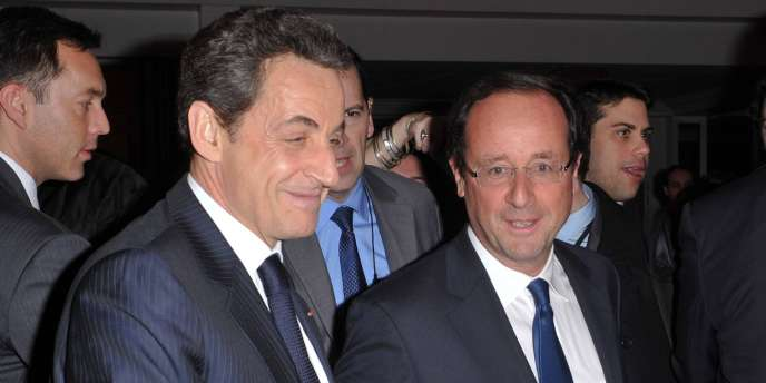 Nicolas Sarkozy et François Hollande, au dîner du CRIF le 8 février.