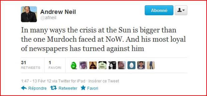 Compte twitter de l'analyste politique de la BBC, Andrew Neil, ancien collaborateur de M. Murdoch.