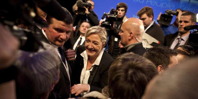 Marine Le Pen, lors de son meeting à Strasbourg le 12 février.