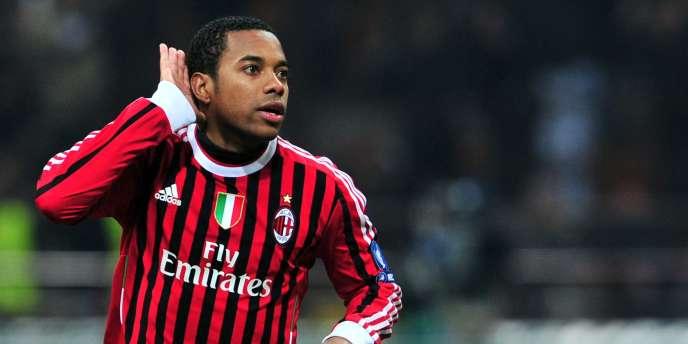 Robinho a inscrit un doublé face à Arsenal lors des huitièmes de finale de la Ligue des champions. Milan, le 15 février.