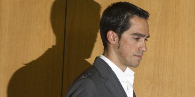 Alberto Contador, en février 2012, à Madrid, après sa suspension.