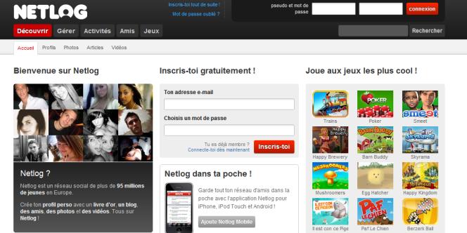 La page d'accueil de Netlog, qui était assigné par l'équivalent belge de la Sacem.