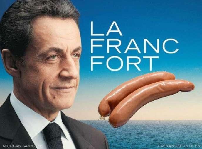 Détournement de l'affiche de campagne de Nicolas Sarkozy.