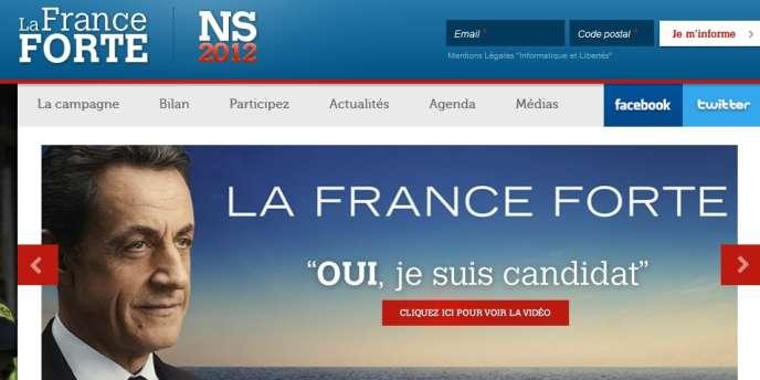 Une capture d'écran du site de campagne de Nicolas Sarkozy.