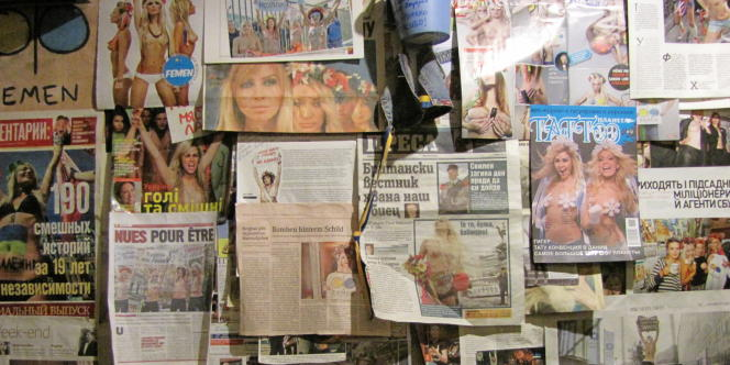 Sur l'un des murs du Café Cupidon, quartier général de Femen.