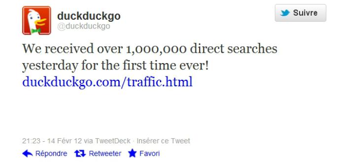 DuckDuckGo a dépassé, le 13 février, le million de recherches dans la journée.