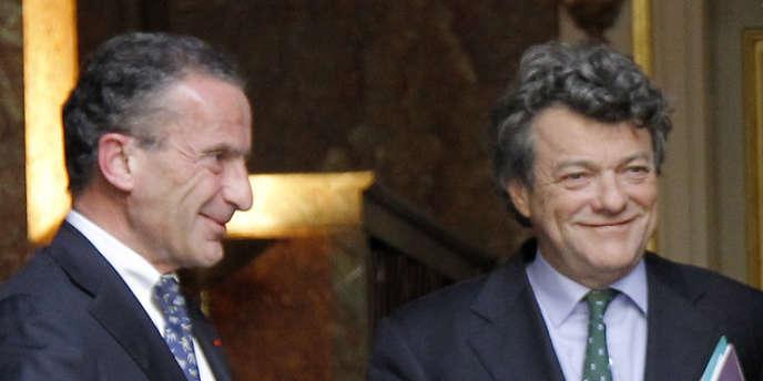Henri Proglio et Jean-Louis Borloo, le 3 janvier 2010, à Paris.