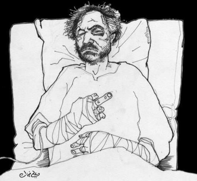 Ali Ferzat, le plus célèbre caricaturiste syrien, a été enlevé et passé à tabac le 25 août 2011. Ses doigts ont été brisés. Ce portrait s'est propagé sur le Net dans les jours suivants. Signé par Ali Ferzat, il est en réalité dû à un dessinateur anonyme.