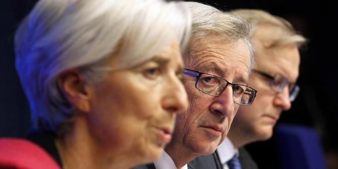 Le chef de file des ministres des finances de la zone euro, Jean-Claude Juncker, et Christine Lagarde, directrice générale du Fonds monétaire international, à Bruxelles en février 2012.