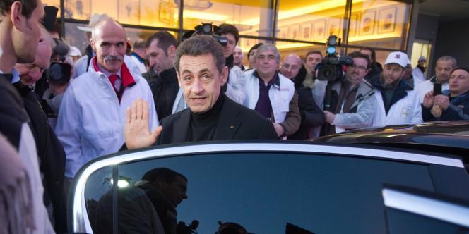Nicolas Sarkozy à Rungis, mardi 21 février.