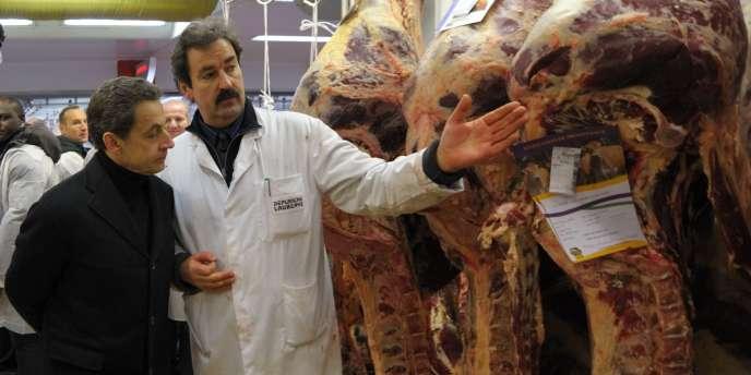 Nicolas Sarkozy en visite à Rungis le 21 février 2012.