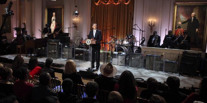 Barack Obama, le 21 février 2012, à la Maison Blanche, lors de la soirée In Performance At The White House.